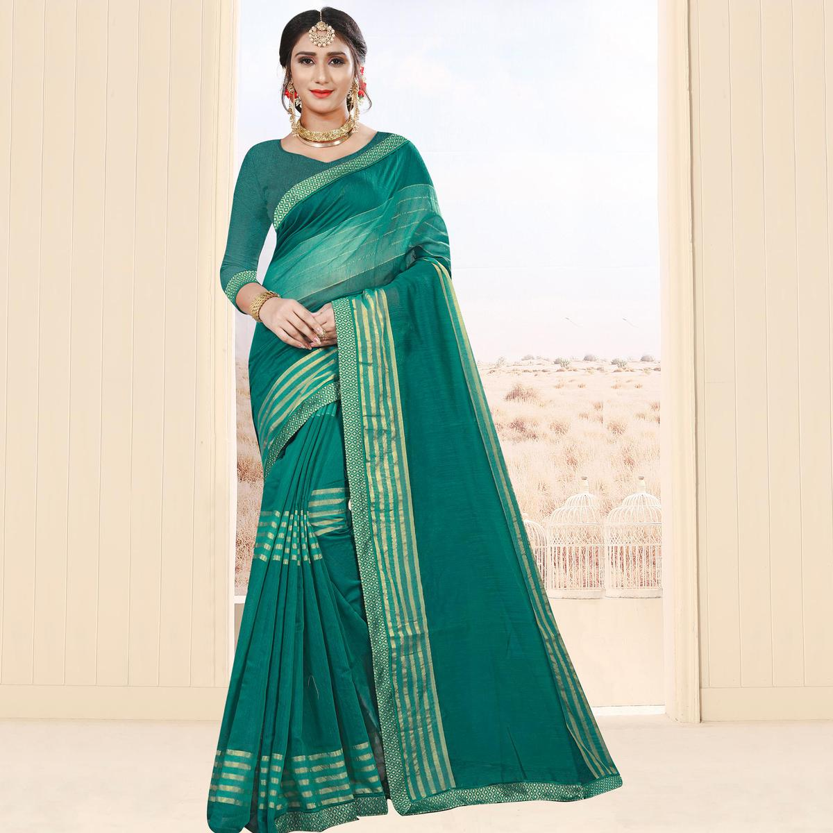 Radiant Turquoise Green Colored Festive Wear Cotton Saree