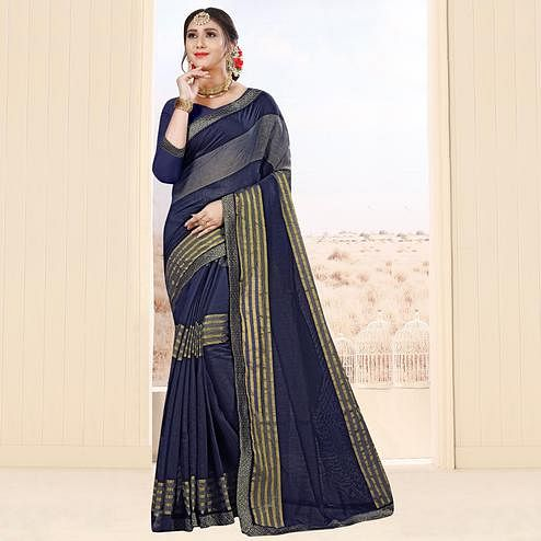 Pleasant Navy Blue Colored Festive Wear Cotton Saree