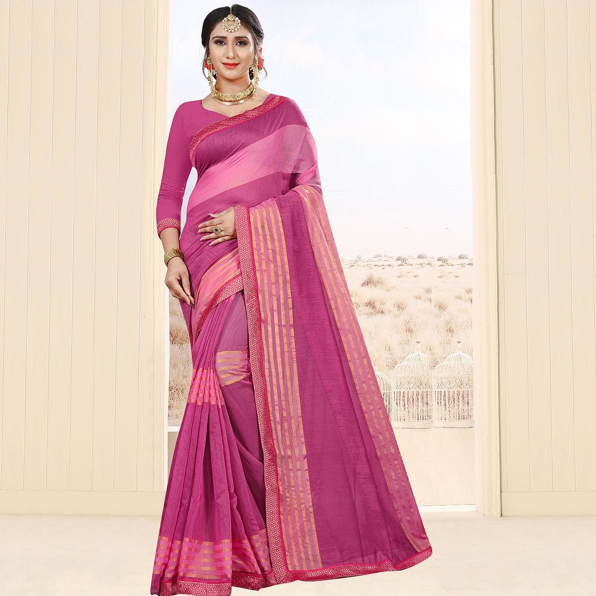 Opulent Pink Colored Festive Wear Cotton Saree