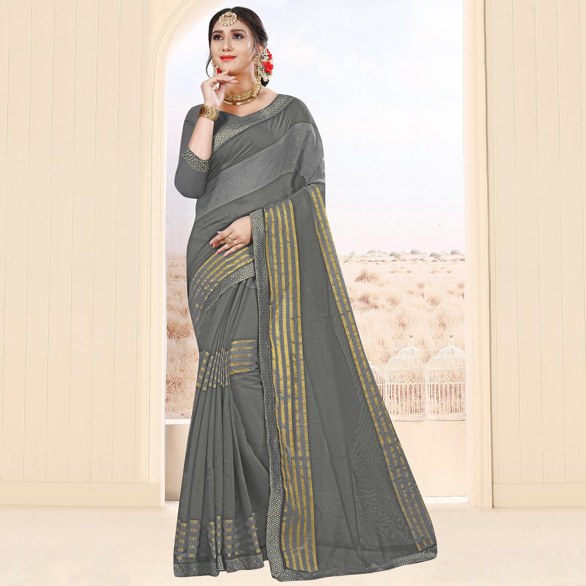 Unique Grey Colored Festive Wear Cotton Saree