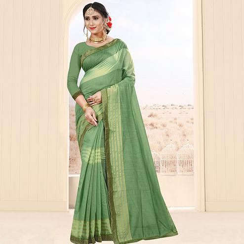 Mesmeric Pista Green Colored Festive Wear Cotton Saree