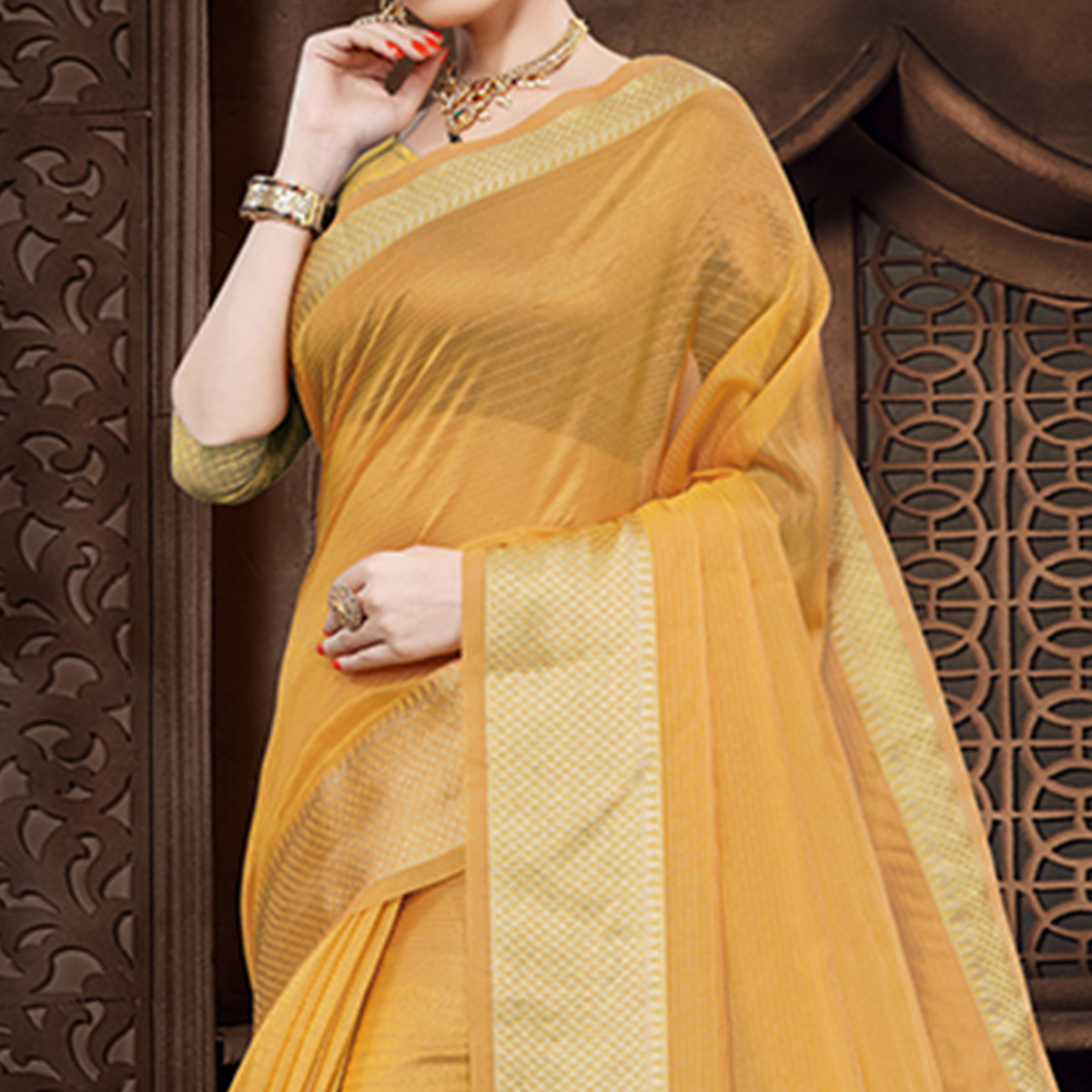 Excellent Mustard Yellow Colored Festive Wear Woven Organza Saree