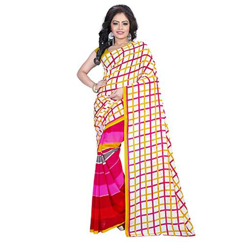 White - Pink Casual Printed Line Design Saree