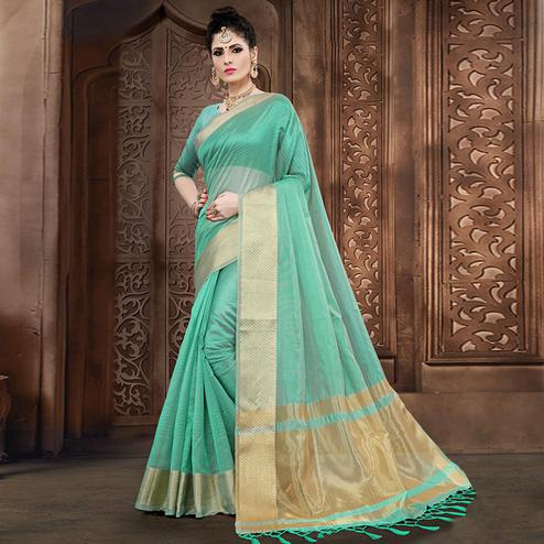 Preferable Turquoise Green Colored Festive Wear Woven Organza Saree