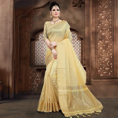 Marvellous Cream Colored Festive Wear Woven Organza Saree
