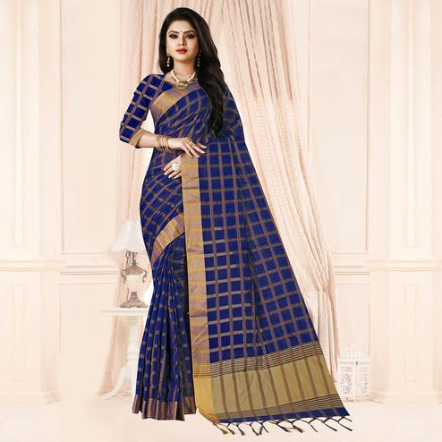 Prominent Navy Blue Colored Festive Wear Checkered Printed Poly Cotton Saree