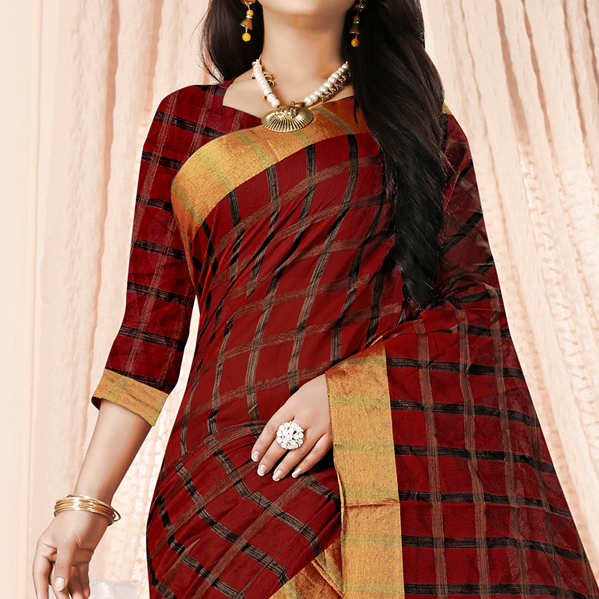 Appealing Maroon Colored Festive Wear Checkered Printed Poly Cotton Saree