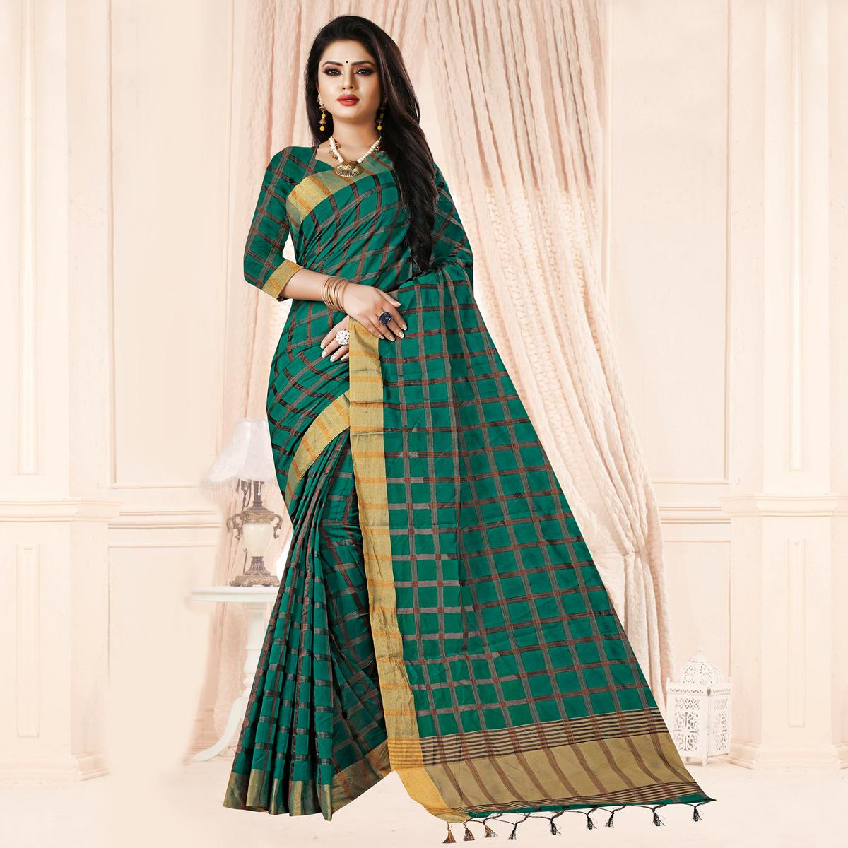 Capricious Teal Green Colored Festive Wear Checkered Printed Poly Cotton Saree