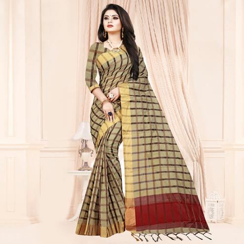 Entrancing Beige Colored Festive Wear Checkered Printed Poly Cotton Saree