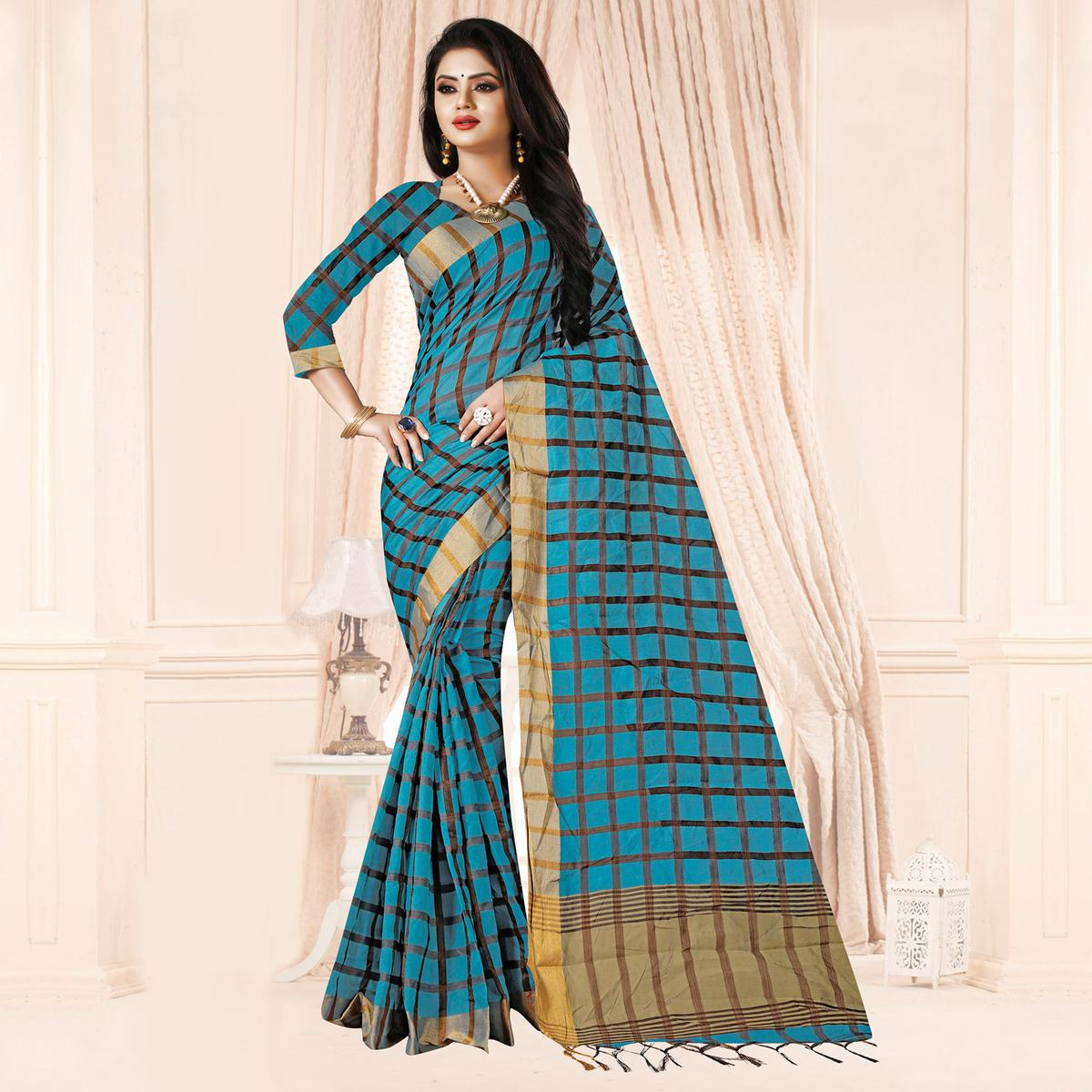 Adorning Sky Blue Colored Festive Wear Checkered Printed Poly Cotton Saree