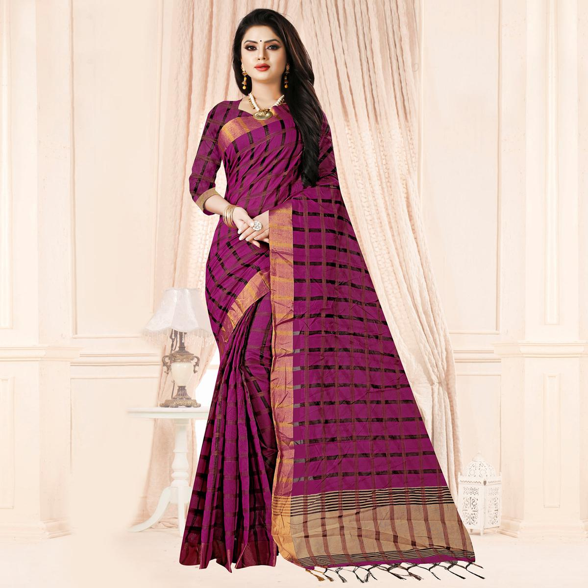 Radiant Magenta Pink Colored Festive Wear Checkered Printed Poly Cotton Saree