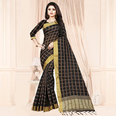 Pleasant Black Colored Festive Wear Checkered Printed Poly Cotton Saree