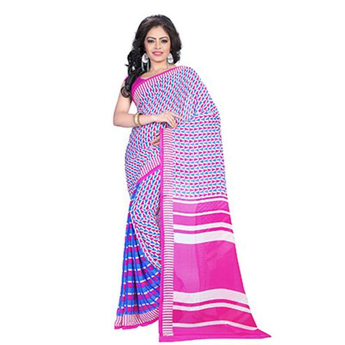 Abstract Pink - Blue Casual Printed Saree