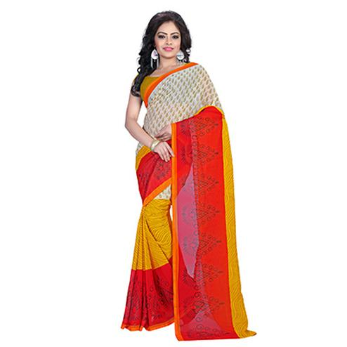 Cream & Yellow Geometric Print Saree