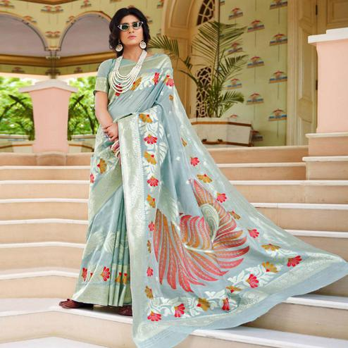 Intricate Light Blue Colored Festive Wear Woven Silk Saree