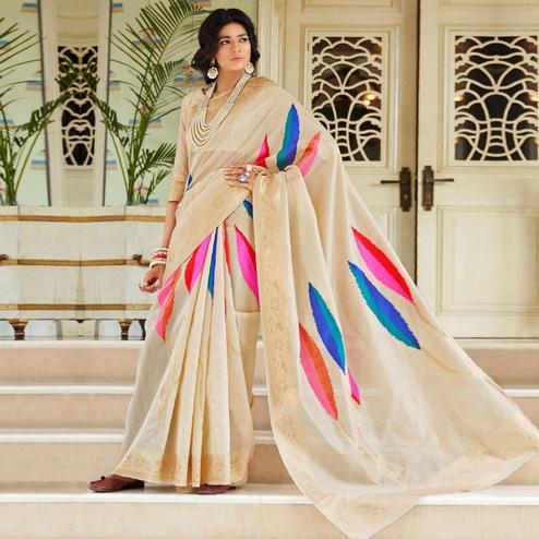 Arresting Beige Colored Festive Wear Woven Silk Saree