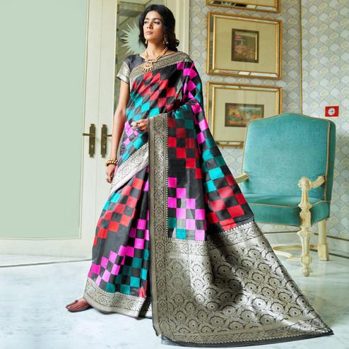 Desirable Black Colored Festive Wear Woven Silk Saree