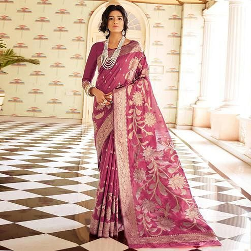 Exotic Mauve Colored Festive Wear Woven Silk Saree