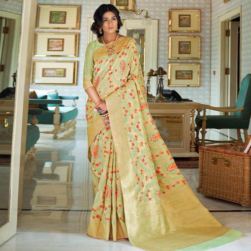 Sophisticated Mint Green Colored Festive Wear Woven Silk Saree
