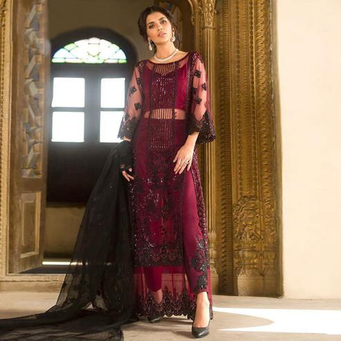 Trendy Wine Colored Partywear Embroidered Organza Pant Style Suit