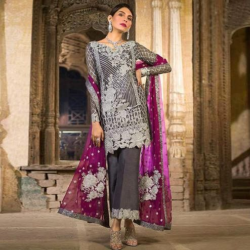 Sophisticated Grey Colored Partywear Embroidered Net Suit