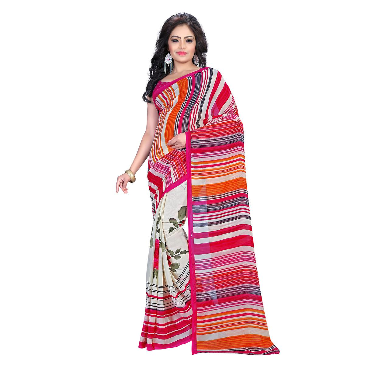 Multicolor Striped Design Georgette Saree