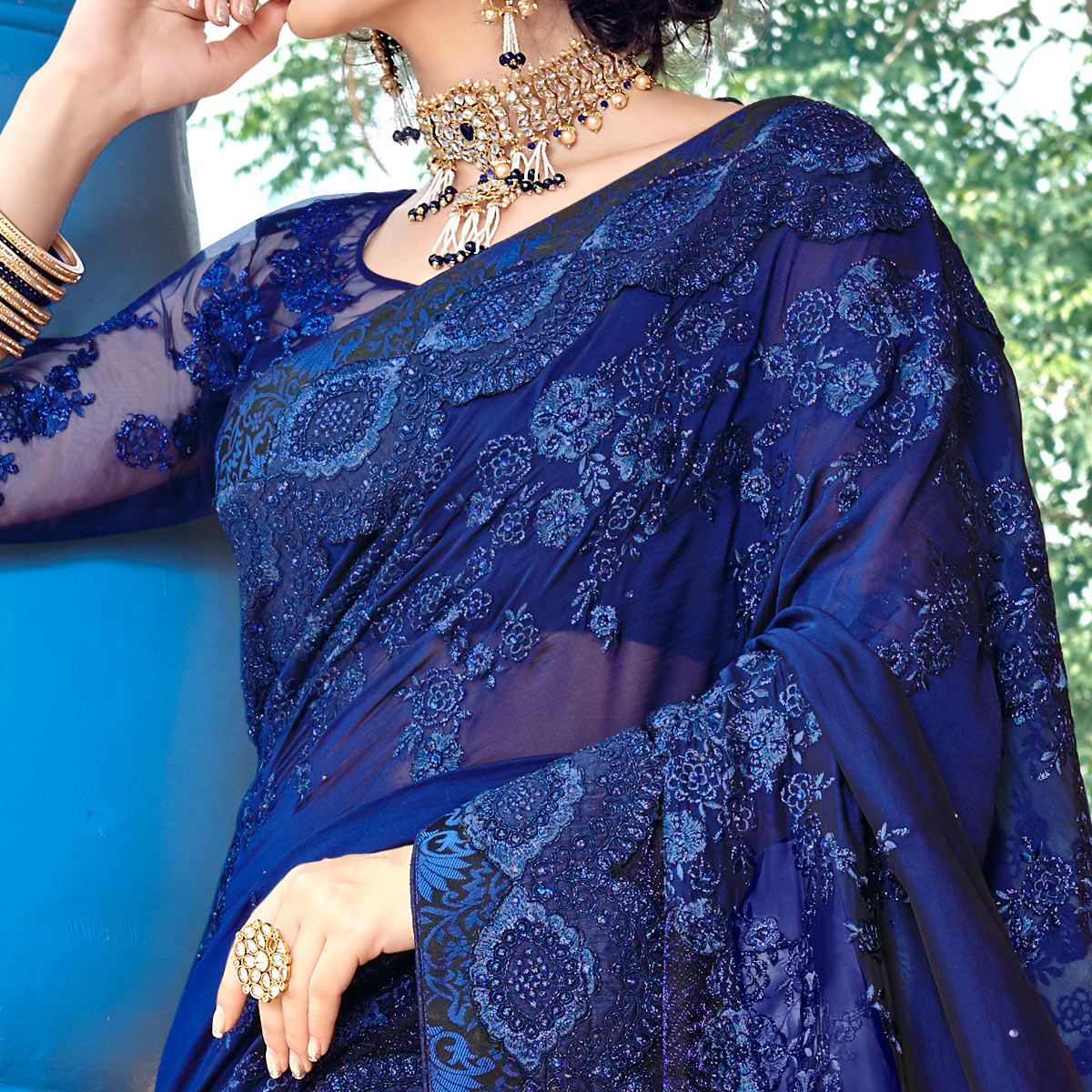 Glorious Navy Blue Colored Partywear Embroidered Georgette Saree