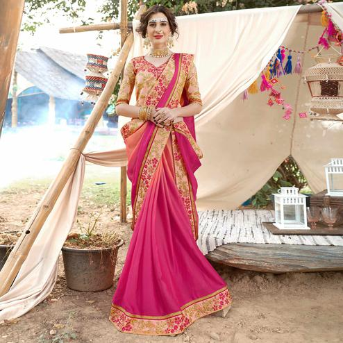 Attractive Pink Colored Partywear Embroidered Georgette Saree