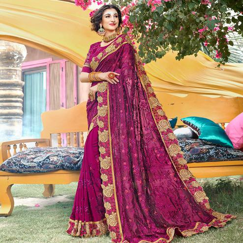 Appealing Magenta Pink Colored Partywear Embroidered Georgette Saree