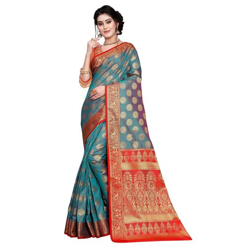 Intricate Rama Blue Colored Festive Wear Woven Art Silk Saree
