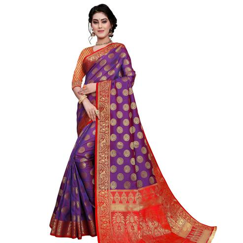 Arresting Purple Colored Festive Wear Woven Art Silk Saree