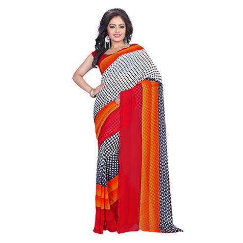 Red - White Checks Design Georgette Saree