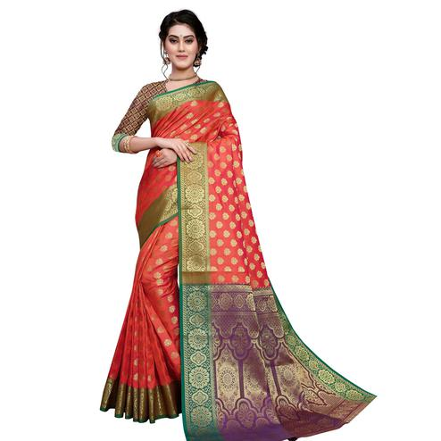 Desirable Coral Red Colored Festive Wear Woven Art Silk Saree