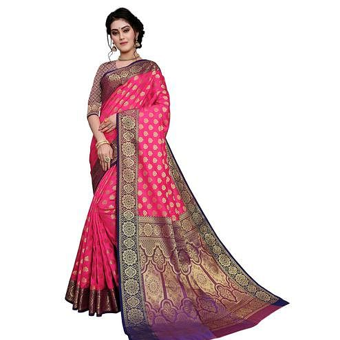 Adorning Pink Colored Festive Wear Woven Art Silk Saree