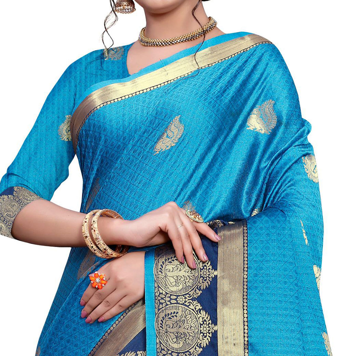 Exotic Sky Blue Colored Festive Wear Woven Cotton Silk Saree