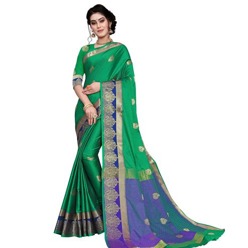 Trendy Green Colored Festive Wear Woven Cotton Silk Saree