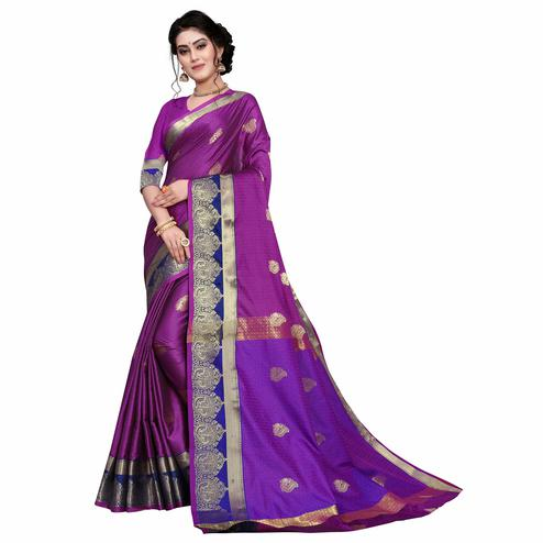 Elegant Purple Colored Festive Wear Woven Cotton Silk Saree