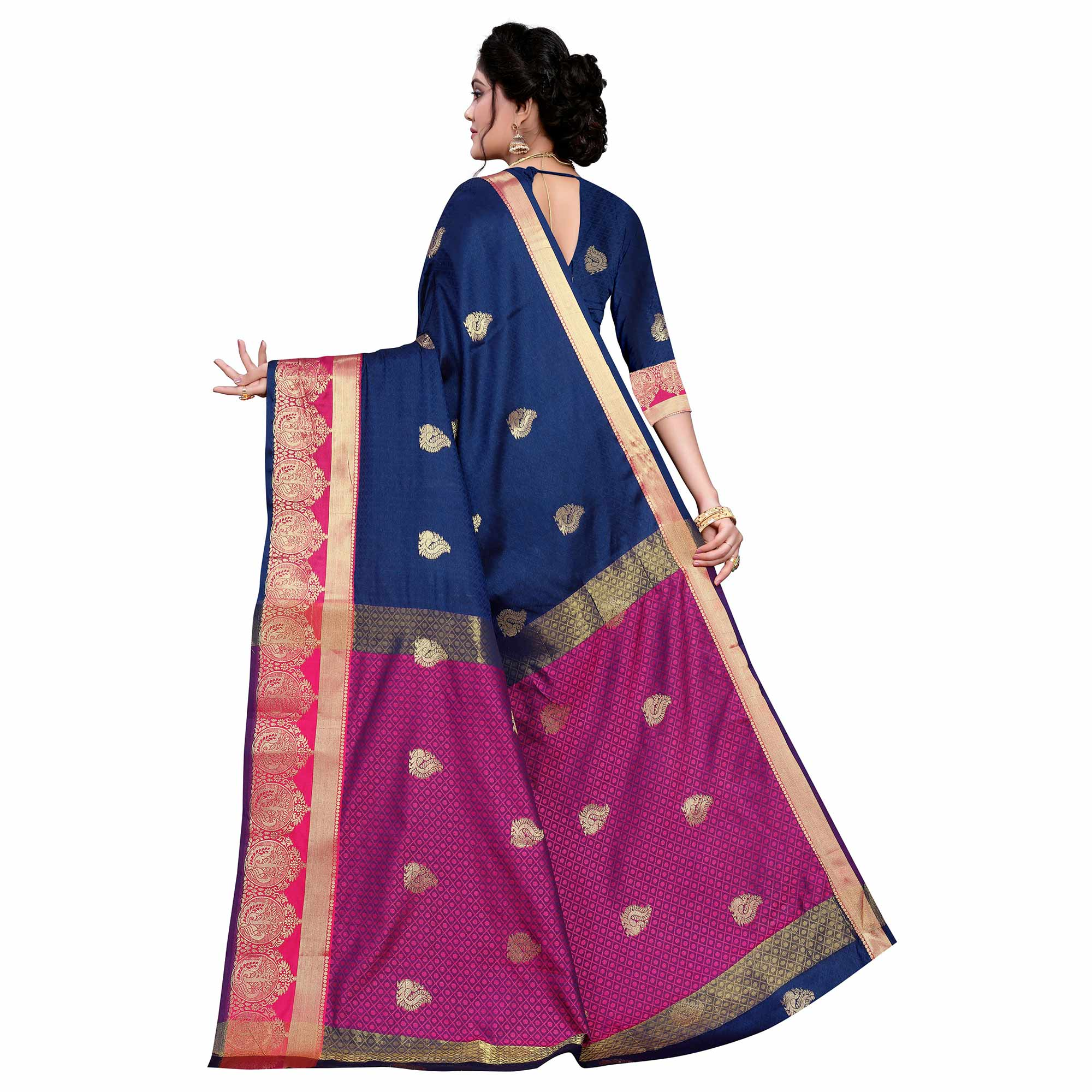 Appealing Navy Blue Colored Festive Wear Woven Cotton Silk Saree