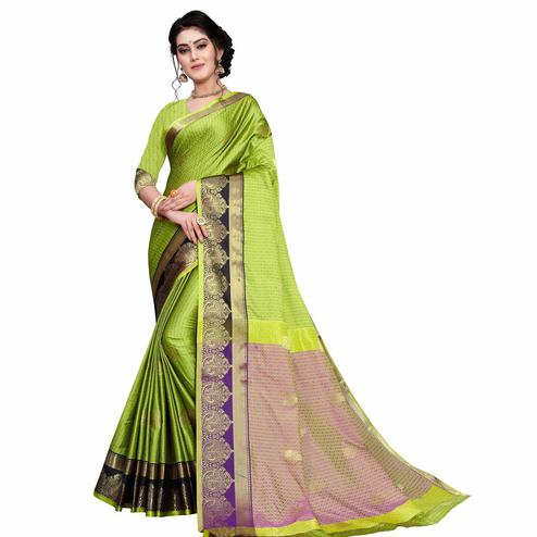Radiant Light Green Colored Festive Wear Woven Cotton Silk Saree