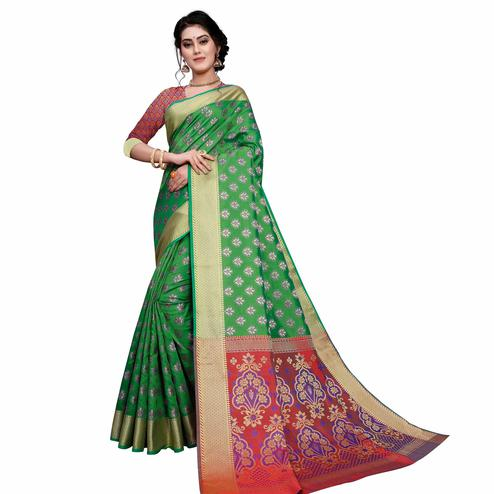 Pleasant Dark Green Colored Festive Wear Woven Art Silk Saree