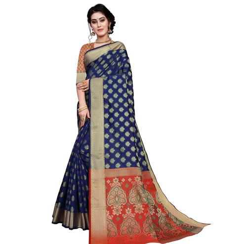 Opulent Navy Blue Colored Festive Wear Woven Art Silk Saree
