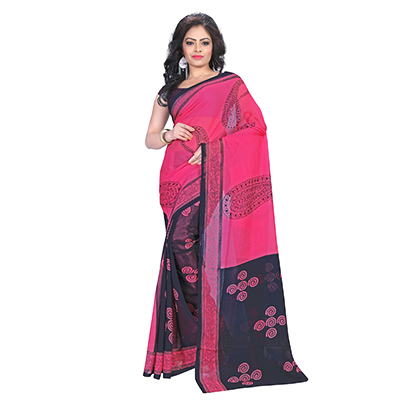 Magenta - Black Georegette Printed Saree