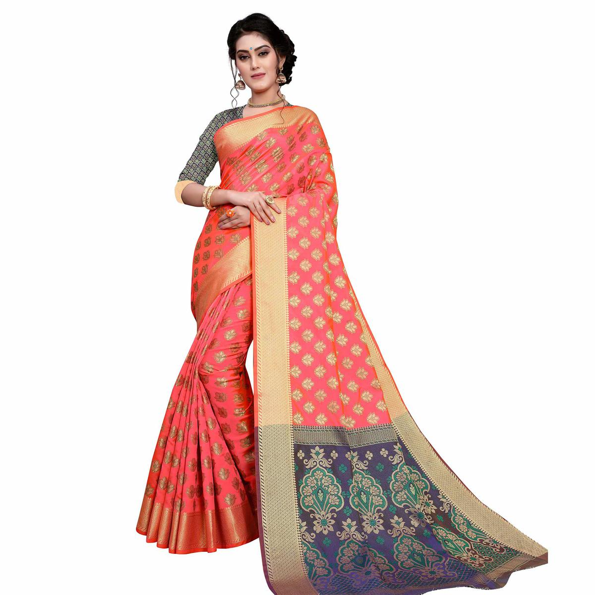 Blissful Peach Colored Festive Wear Woven Art Silk Saree