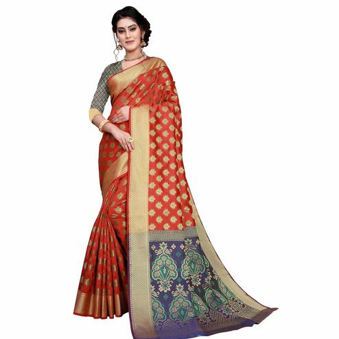 Energetic Red Colored Festive Wear Woven Art Silk Saree