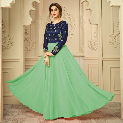 Fantastic Turquoise Green Colored Party Wear Embroidered Mulburi Silk-Georgette Gown