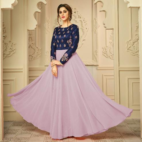 Sophisticated Lavender Colored Party Wear Embroidered Mulburi Silk-Georgette Gown