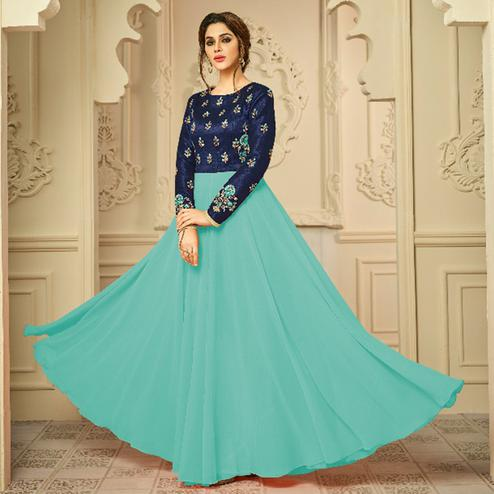 Desirable Blue Colored Party Wear Embroidered Mulburi Silk-Georgette Gown