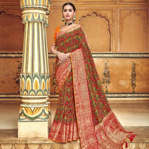 Demanding Maroon Colored Festive Wear Printed Banarasi Silk Saree