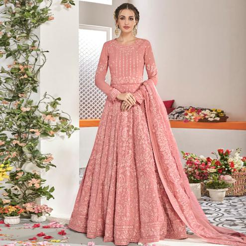 Adorable Pink Colored Partywear Embroidered Georgette Anarkali Suit
