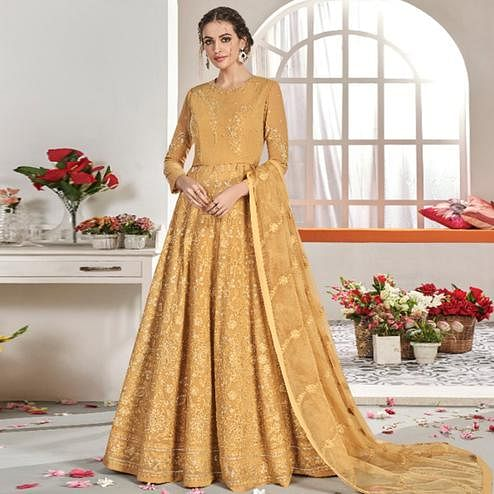 Glorious Mustard Yellow Colored Partywear Embroidered Georgette Anarkali Suit